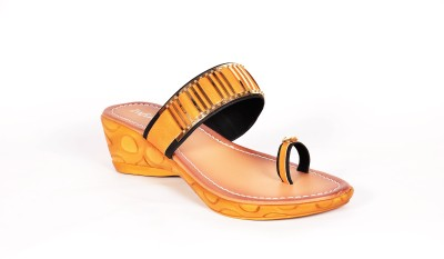Infiniti Women Orange, Gold Wedges