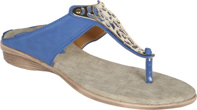 Niremo Blue Durable Synthetic Leather Women Blue Flats