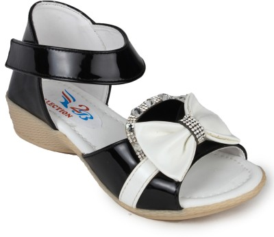 2B Collection Girls-Bow-Black Girls Black Sandals