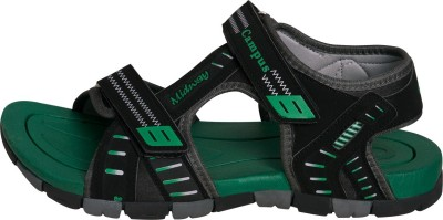 Campus Men Black, Green Sandals