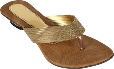 Authentic Vogue Golden Colour Shiny Stone Women Gold Flats