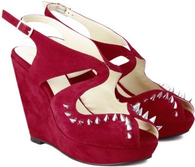 Plosh Studder Women Red Wedges