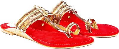 Marie Comfort Girls Gold, Red Flats