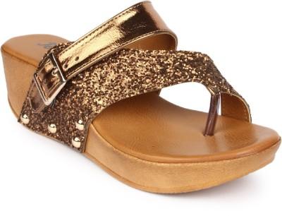 JOVE Women Gold Sandals