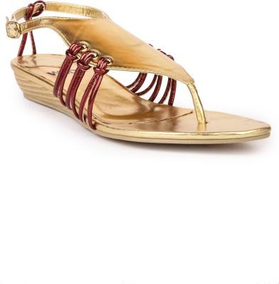 Darcey Women Gold, Maroon Flats