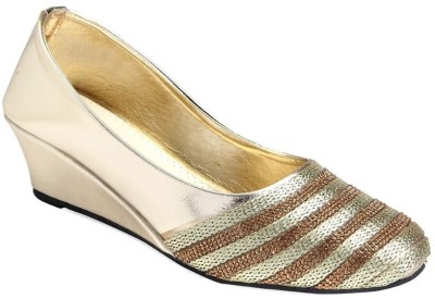 Apick Women Gold Wedges