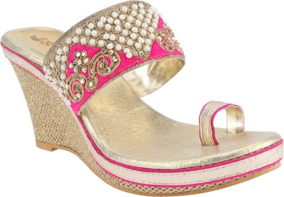 El Cisne Women Gold, Pink Wedges