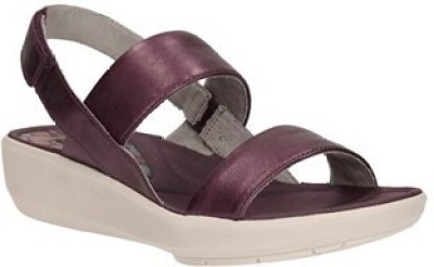 Clarks Wave Shine Purple Leather Women Sports Sandals