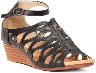 Lyc Black Wedges Sandals Women Black Wedges