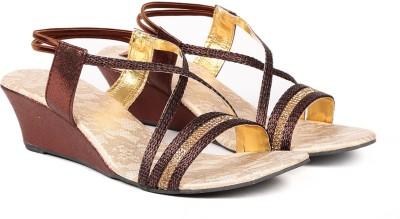 Ka Fashion Women Brown Wedges
