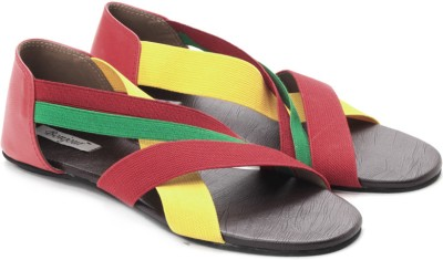 Bonjour Women Yellow, Green, Brown, Red Flats