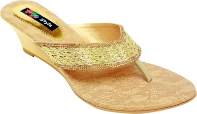 Meestyle Women Gold Wedges
