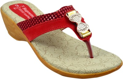 Supreme Leather Women Red Wedges