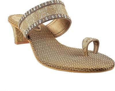 Mochi Fancy Women Gold Heels