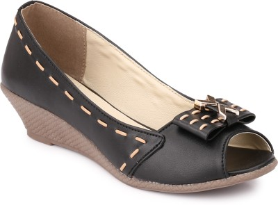 Koyka Women Black Wedges at flipkart