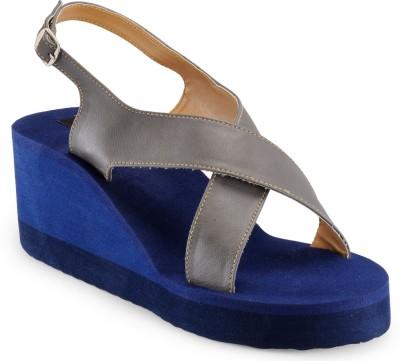 A Click Away Women Blue, Grey Wedges