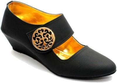 Stylish Step Women Black Wedges