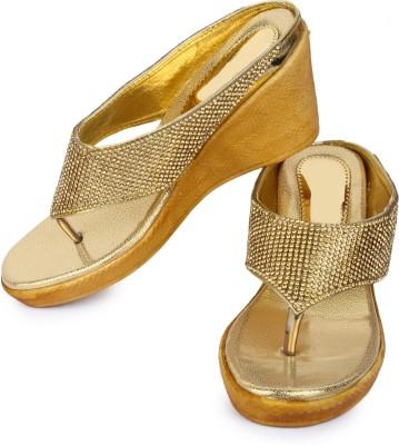 London Steps Women Gold Wedges