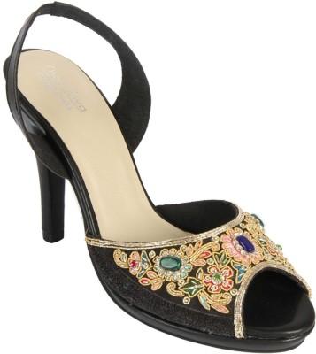 Charu- Diva Design Studio Women Black, Gold Heels