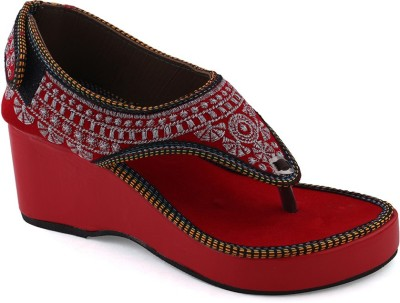 Paduki Women Red, Silver Wedges