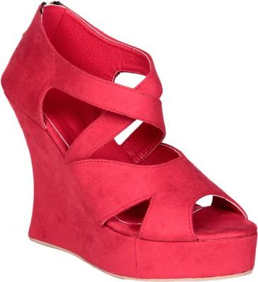Soft & Sleek Red Strap Women Red Wedges
