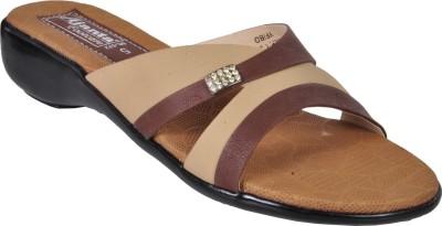 Ajanta Women Beige, Brown Heels