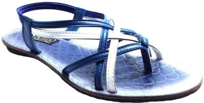 Senso Vegetarian Chic Black Ankle Length Sandals Women Blue Flats