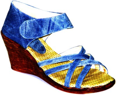 Celebrity Party and Office Wear Girls Blue Wedges