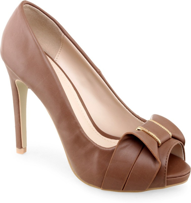 Shuz Touch Women Khaki Heels