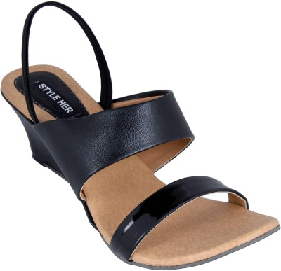 Style Her Women Black Wedges