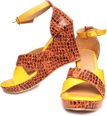 Oh Feet ! Women Yellow Wedges