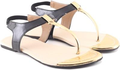Cenizas Golden Pie Women Black Flats