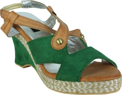 Raw Hide Women Green Wedges