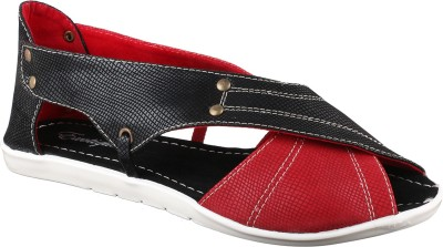 Exotique Women Black, Red Flats
