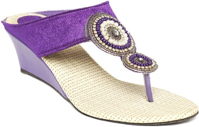 Foot Jewel Heel Purple Party Slip On Women Purple Wedges