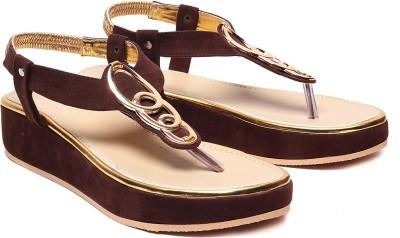 Comfort Stylish Women Brown, Gold Wedges