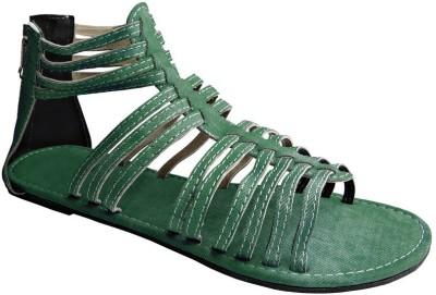 Tatter Angel Women Green Flats