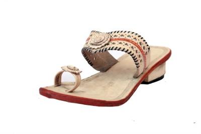 Traditional Kolhapuri Women White Heels