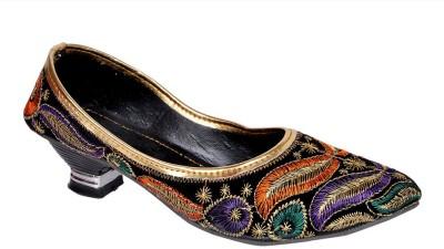 INDCROWN Women, Girls Black, Multicolor Heels