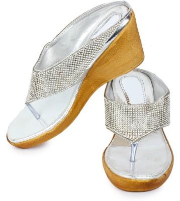 London Steps Women Silver Wedges