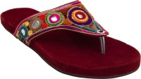Footrendz Women Maroon::Yellow; dark blue; brown; orange Flats