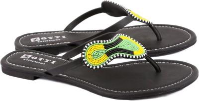 Zotti African Masaba Women Black, Green Flats