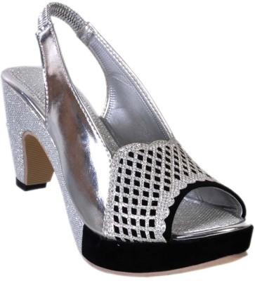 Jolly Jolla Girls Silver, Black Sandals