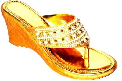 Angeela Women Gold Wedges