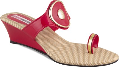 Pink Fever Women Red Wedges