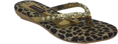 Supreme Leather Women Gold Flats