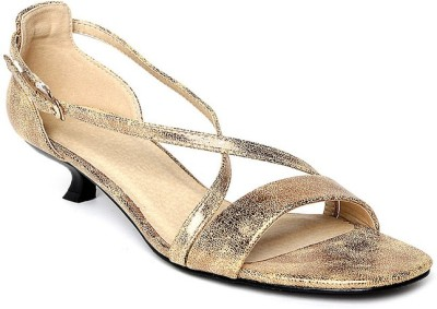 Addons Elaphe square Women Gold Heels