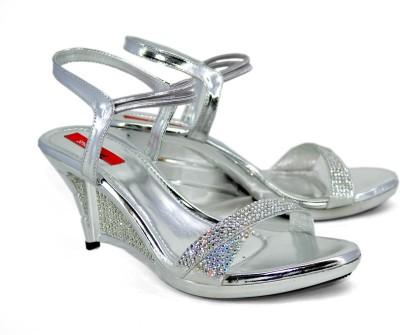 Shoedeal D404 Silver Women Silver Wedges