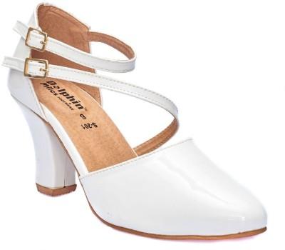 Dolphin Miles Women White Heels