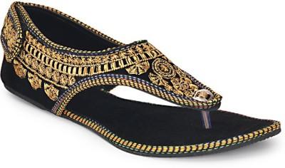 Paduki Ethnic Footwear Women Black, Gold Flats